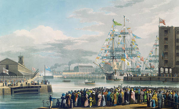 The Art Print featuring the painting The Opening Of Saint Katharine Docks by Edward Duncan