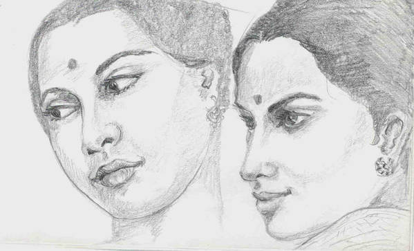 Sketch Of Indian Women Art Print featuring the drawing Two Indian Women by Asha Sudhaker Shenoy