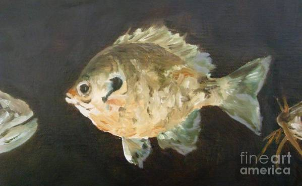 Fish Art Print featuring the painting Uh-oh by Debbie Anderson
