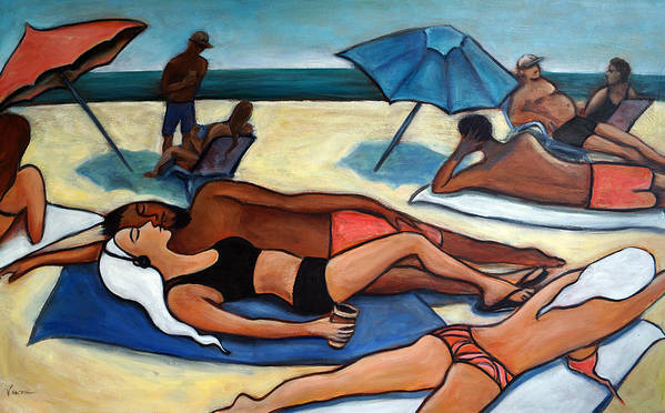 Beach Scene Art Print featuring the painting Un Journee A La Plage by Valerie Vescovi