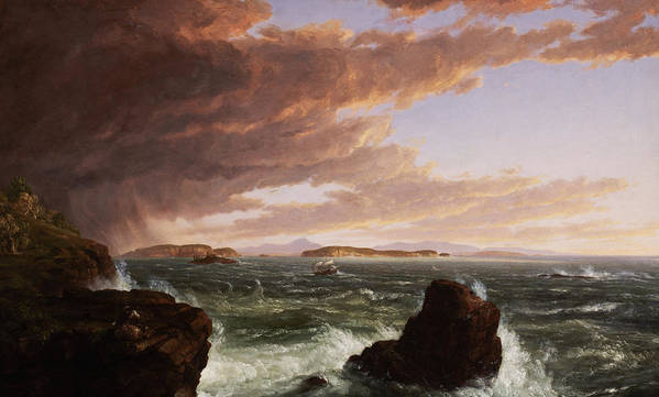 Stormy Weather Print featuring the painting View Across Frenchman's Bay From Mt. Desert Island After A Squall by Thomas Cole