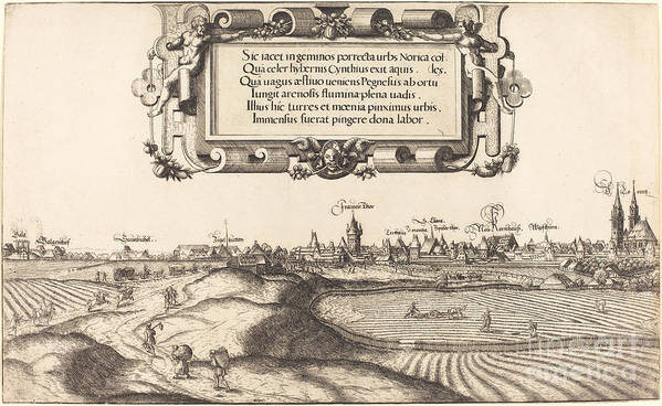 Art Print featuring the drawing View Of Nuremberg From The East [left Section] by Hans Sebald Lautensack