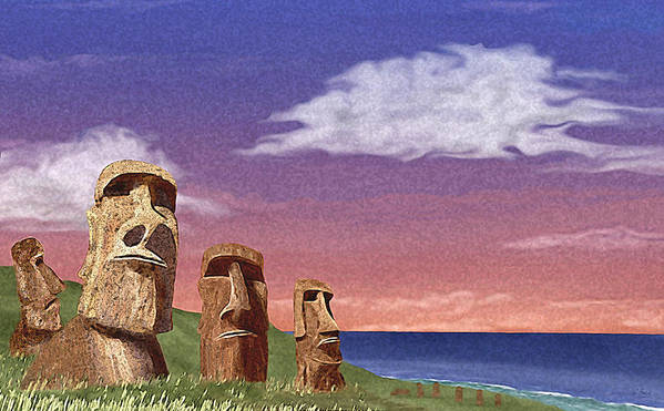 Contemporary Quirky Easter Island Statues Seascape Ocean Water Primitive Watchers Watching Guard Guards Guardians Vigilance Vigilant Think Thinking Thinkers Aware Alert Looking Lookouts Beach Patrol Stalwart Steadfast Defense Defending Defenders Security Safety Safe Unfriendly Hostile Stone Face Faced Determination Determined Serious Dedicated Dedication Committed Contemplation G Art Print featuring the painting Watchers by Gordon Beck