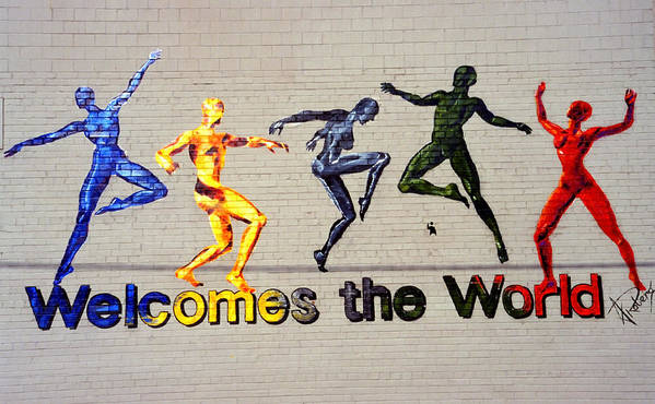 Art Art Print featuring the photograph Welcomes The World Mural by Steve Ohlsen