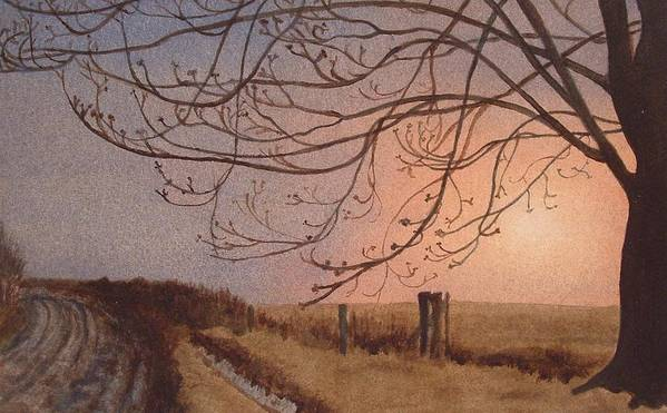 Landscape Art Print featuring the painting Wet Spring Soft Sunset by Lynn ACourt