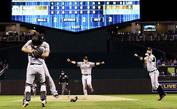 People Art Print featuring the photograph World Series - San Francisco Giants V by Jamie Squire