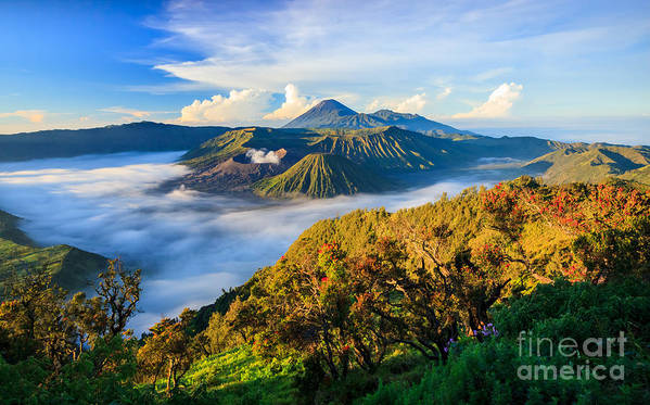 Cone Art Print featuring the photograph Bromo Volcano At Sunrise,tengger Semeru by Lkunl