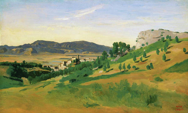 View Of Olevano Art Print featuring the painting View Of Olevano - Digital Remastered Edition by Jean-Baptiste Camille Corot