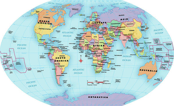World Map, Continent And Country Labels Art Print by Globe Turner, Llc