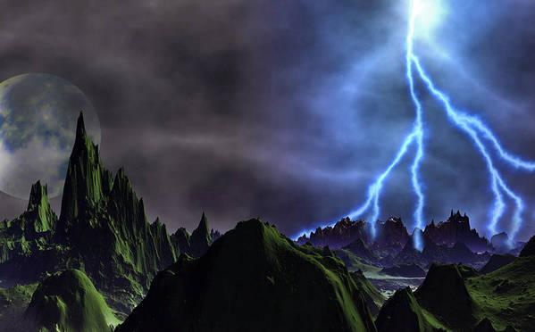 David Jackson Approaching Storm Venus Alien Landscape Planets Scifi Art Print featuring the digital art Approaching Storm by David Jackson