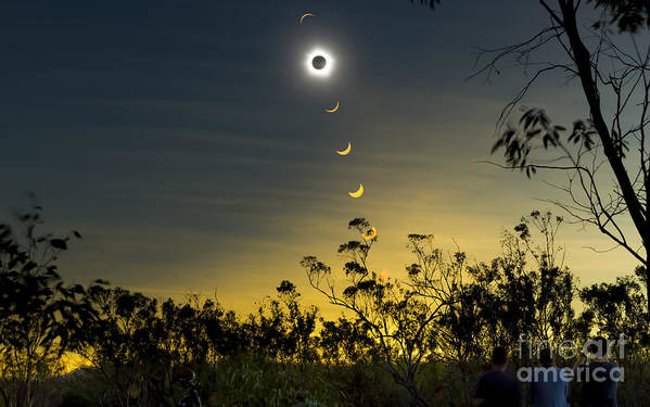 Eclipse Art Print featuring the photograph Solar Eclipse Composite, Queensland by Philip Hart