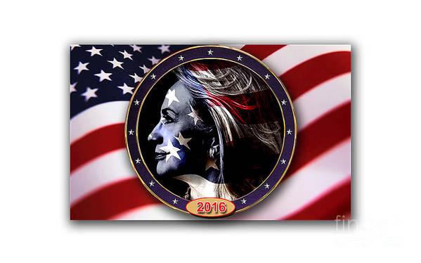Hillary Clinton Paintings Mixed Media Mixed Media Art Print featuring the mixed media Hillary 2016 by Marvin Blaine