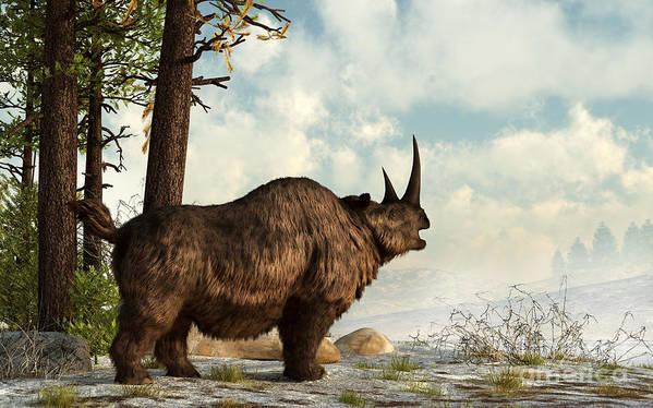 Outdoors Art Print featuring the digital art A Woolly Rhinoceros Trudges by Daniel Eskridge