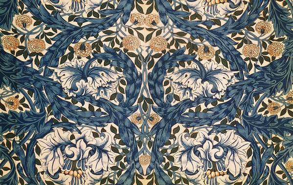 Pattern Art Print featuring the tapestry - textile African Marigold Design by William Morris