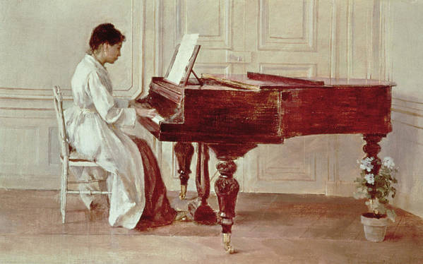 Grand Art Print featuring the painting At The Piano by Theodore Robinson