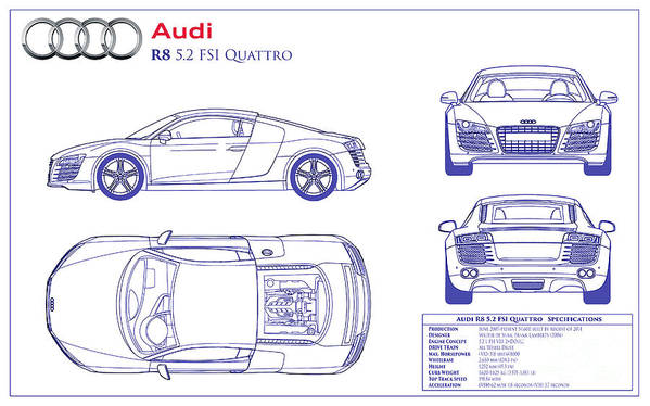 High Quality Audi R8 Blueprint Art Print Featuring The Photograph Audi R8 Blueprint By  Jon Neidert