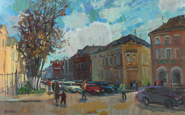 City Art Print featuring the painting Autumn In The City by Juliya Zhukova
