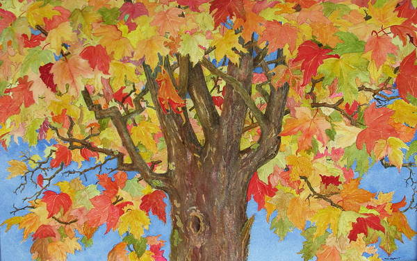 Leaves Art Print featuring the painting Autumn Leaves 1 by Mary Ellen Mueller Legault