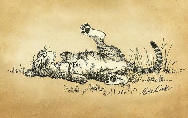 Tiger Art Print featuring the drawing Bliss In The Grass by Evie Cook