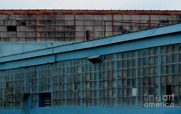 Building Art Print featuring the photograph Blue Building Windows by Karen Adams