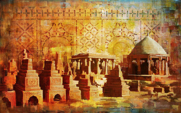 Pakistan Art Print featuring the painting Chaukhandi Tombs by Catf