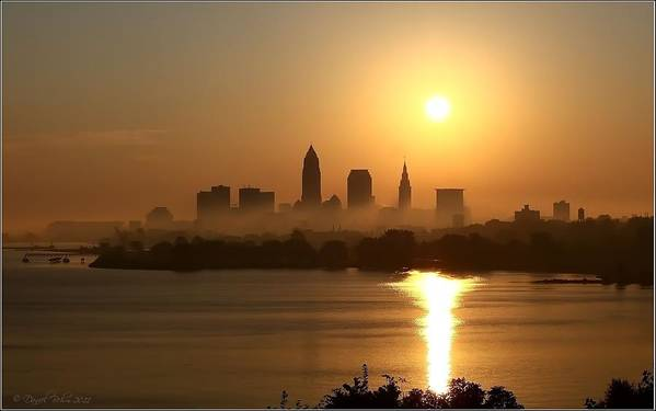 Cleveland Skyline Print featuring the photograph Cleveland Skyline At Sunrise by Daniel Behm