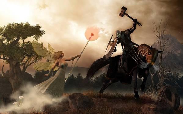 Renewal Print featuring the digital art Death Knight And Fairy Queen by Daniel Eskridge
