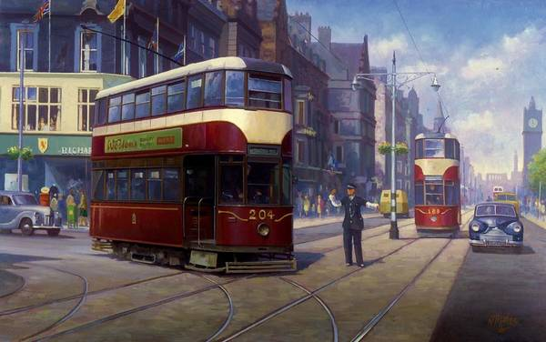 united Kingdom Print featuring the painting Edinburgh Tram 1953. by Mike Jeffries