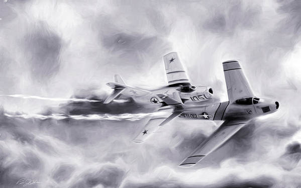North American F-86 Sabre Art Print featuring the digital art Embattled Bw by Peter Chilelli