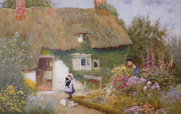 Thatch Art Print featuring the painting Feeding The Pigeons by Arthur Claude Strachan
