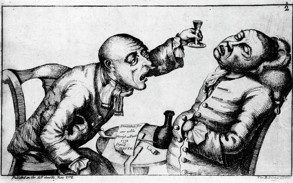 Alcoholism Art Print featuring the photograph French 18th Century Engraving Of Two Alcoholics by National Library Of Medicine/science Photo Library