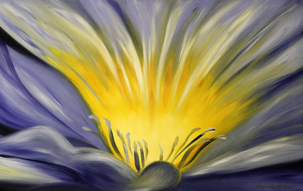 Blue Art Print featuring the painting From The Heart Of A Flower Blue by Gina De Gorna