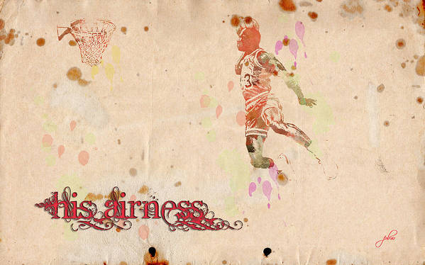 Featured Art Print featuring the digital art His Airness - Michael Jordan by Paulette B Wright