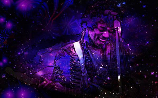 Jimi Hendrix Art Print featuring the digital art Jimi Hendrix by D Walton