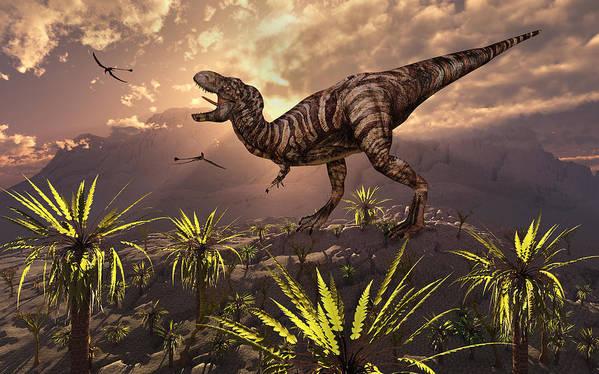 T.rex Tyrranosaurus Dinosaur Carnivore Hunter Scavanger Cretaceous Calling Roaring Prehistoric Nature Sunrise Sunset Dawn Dusk 3d Concept Concepts Conceptual Art Print featuring the digital art King Of The Dinosaurs.. A T.rex by Mark Stevenson