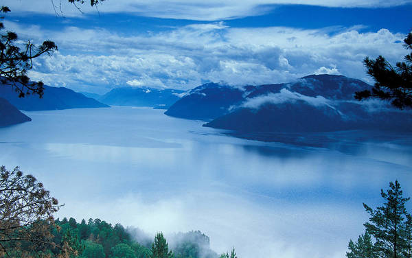 Fog; Landscape; Mist; Mountain; Mountains; Nature; Nobody; Outdoors; Outside; River; Rivers & Lakes; Scenery; Scenic; Scenics; Sky; Trees; Water Art Print featuring the photograph Landscape by Anonymous