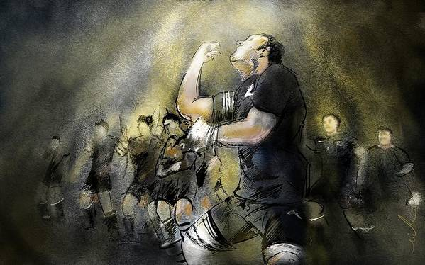 All Blacks Art Print featuring the painting Maori Haka by Miki De Goodaboom
