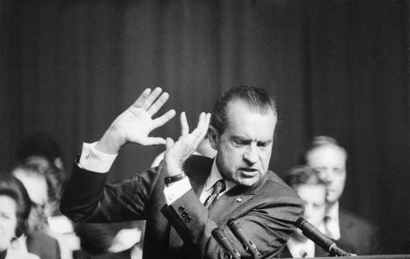 History Art Print featuring the photograph President Richard Nixon Gesturing by Everett