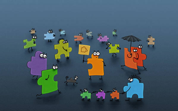 Abstract Art Print featuring the digital art Puzzle Family by Gianfranco Weiss