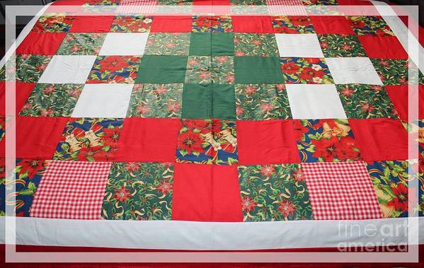 Quilts Art Print featuring the tapestry - textile Quilt Christmas Blocks by Barbara Griffin