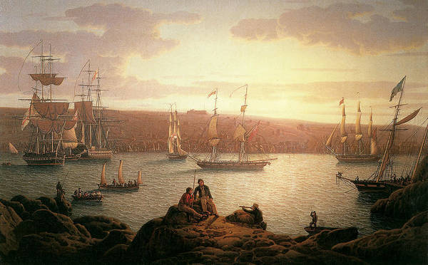 Robert Salmon Art Print featuring the painting Royal Naval Vessels Off Pembroke Dock Hilford Haven by Robert Salmon