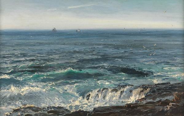 Seascape; Sea; Water; Coast; Coastal; Rocks; Rocky; Wave; Waves; Foam; Boat; Boats; Ship; Ships Art Print featuring the painting Seascape 1877 by Henry Moore