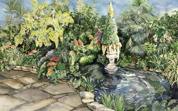 Spring Art Print featuring the painting springtime at the Allan gardens by Alfred Ng