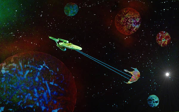 Star Trek Print featuring the painting Star Trek -uss Enterprise by Michael Rucker
