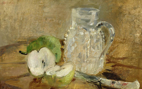 Pomme Coupee Et Pichet; Sliced; Knife; Impressionist; Jug; Table; Nature Morte Art Print featuring the painting Still Life With A Cut Apple And A Pitcher by Berthe Morisot