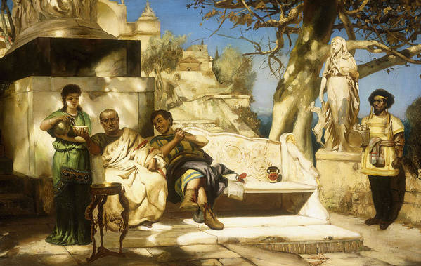 Patrician Patrician; Siesta; Men; Male; Seated; Classical; Academic; Traditional; Dress; Costume; Architecture; Seated; Bench; Seat; Garden; Gardens; Sculpture; Relaxed; Relaxing; Afternoon; Leisure; Humour; Laughter; Female; Woman; Maid; Servant; Summer; Sunshine; Food; Drink; Food And Drink; Scene; Shade; Shady; Statue; Statues Art Print featuring the painting The Patrician's Siesta by Hendrik Siemiradzki