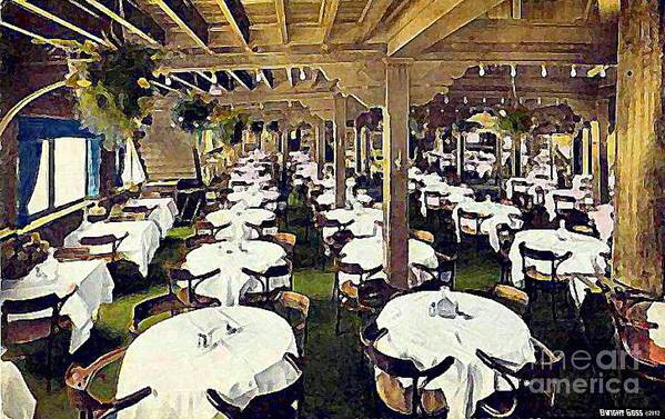 Ship Cafe Art Print featuring the painting The Ship Cafe Dining Room In Venice Ca 1910 by Dwight Goss