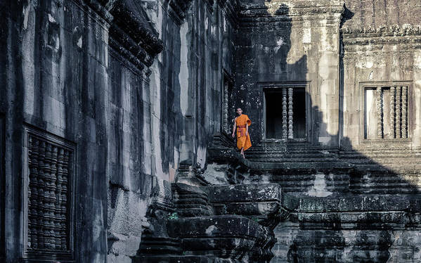 Cambodia Art Print featuring the photograph The Young Monk by Gloria Salgado Gispert