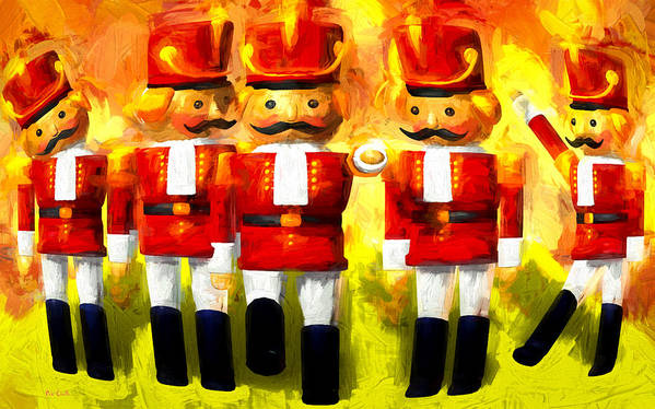 Toy Soldiers Art Print featuring the painting Toy Soldiers Nutcracker by Bob Orsillo