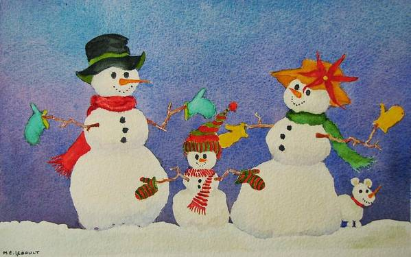 Winter Art Print featuring the painting Tres Chic by Mary Ellen Mueller Legault